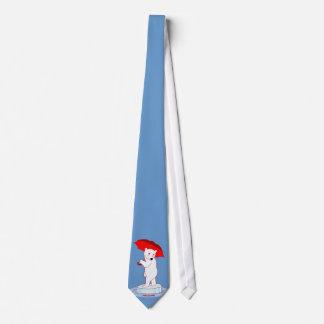 Polar Bear Needs an Umbrella Doodle Art Tie