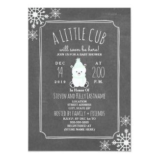 Polar Bear Neutral Green Winter Baby Shower Card
