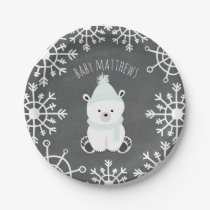 Polar Bear Neutral Winter Baby Shower Paper Plate