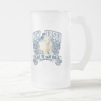 Polar Bear New Jersey Frosted Glass Beer Mug