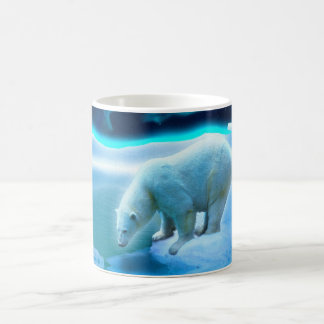 Polar Bear & Northern Lights Wildlife Art Mug
