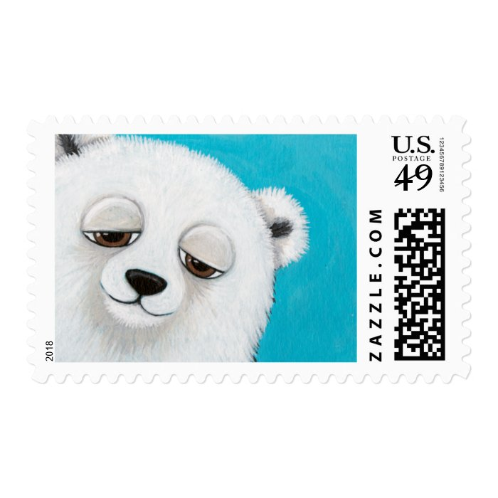 Polar Bear on Blue - Medium Postage