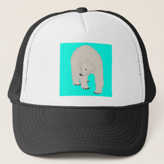 Polar Bear on Bright Turquoise Trucker Hat