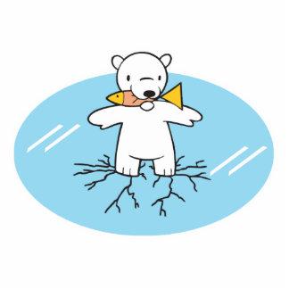 polar bear on cracked ice cut out