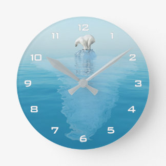Polar Bear on Iceberg Wall Clock