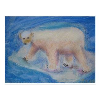 Polar bear on shrinking ice postcard