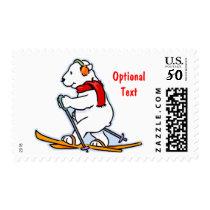Polar Bear on Skis - Customizable Postage