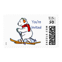 Polar Bear on Skis You're Invited Postage