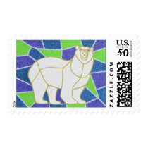 Polar Bear on Stained Glass Postage