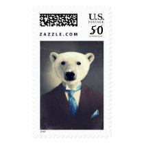 "Polar Bear Original Art Postage Stamp ""Wallace"""