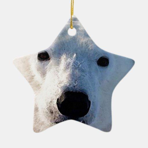 Polar Bear Double-Sided Star Ceramic Christmas Ornament