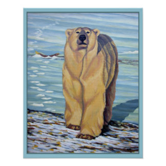 Polar Bear Painting Art Print Wildlife Home Decor