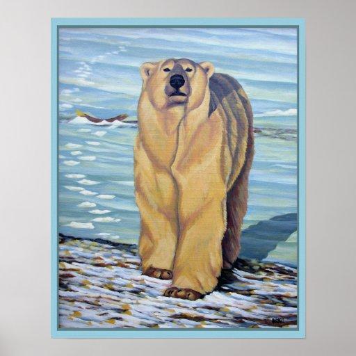 Polar Bear Painting Art Print Wildlife Home Decor
