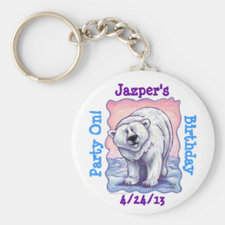 Polar Bear Party Center Basic Round Button Keychain
