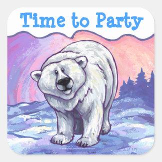 Polar Bear Party Center Square Sticker
