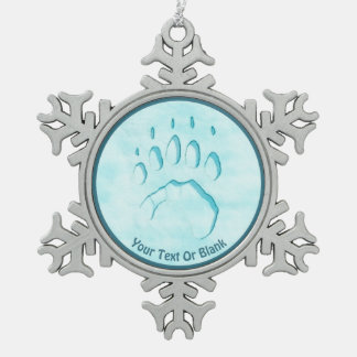 Polar Bear Paw Print Snowflake Pewter Christmas Ornament