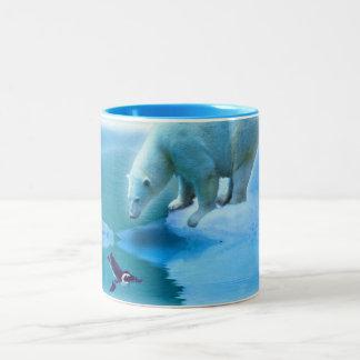 Polar Bear & Penguin Arctic Ice Wildlife Art Mug