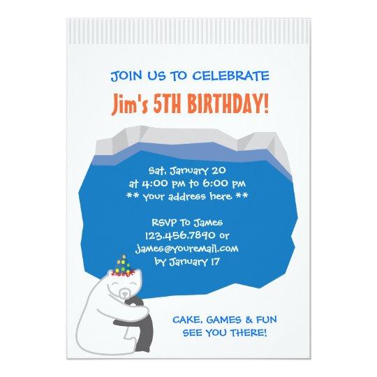 Polar Bear & Penguin Birthday Party Invitation