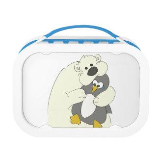 polar bear penguin hug lunch boxes
