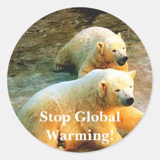 Polar Bear Photo. Stop Global Warming! Round Sticker