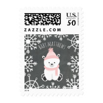 Polar Bear Pink Winter Baby Shower Postage