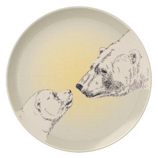 Polar Bear Plate Beautiful Mother & Cub Bear Gifts