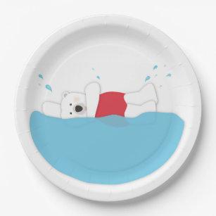 Polar Bear Plunge Paper Plate  sc 1 st  Zazzle & Polar Bear Plates | Zazzle