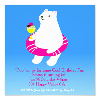 Polar Bear Pool Party Card