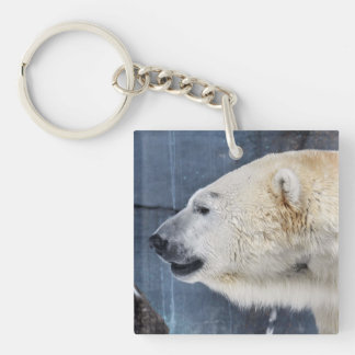 Polar Bear Portrait Double-Sided Square Acrylic Keychain