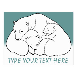 Polar Bear Postcard Bear Family Art Postcards
