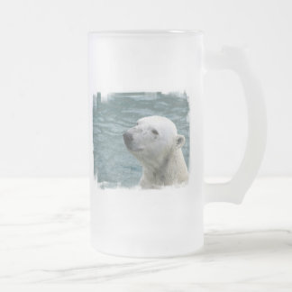 Polar Bear Profile Frosted Beer Mug