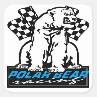 Polar Bear Racing Square Sticker