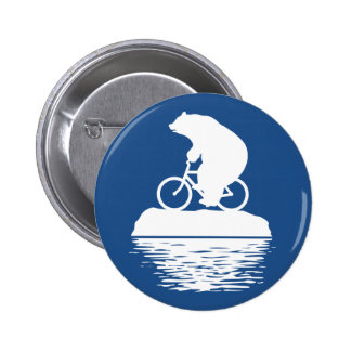Polar Bear Riding Bicycle on Iceberg Button
