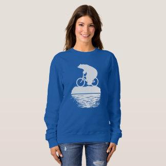 Polar Bear Riding Bike Iceberg Women's Sweatshirt