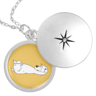Polar bear round locket necklace