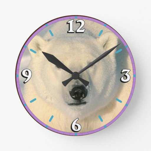 Polar Bear Round Wall Clock