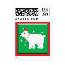 Polar Bear Santa Hat Christmas Bell Snowflakes Postage
