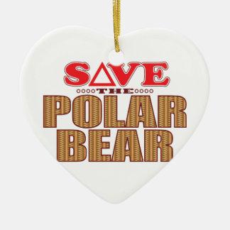 Polar Bear Save Ceramic Ornament