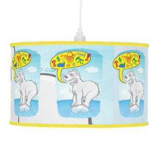 Polar bear saying bad words standing on tiny ice ceiling lamp