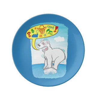 Polar bear saying bad words standing on tiny ice dinner plate