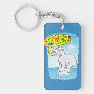Polar bear saying bad words standing on tiny ice keychain