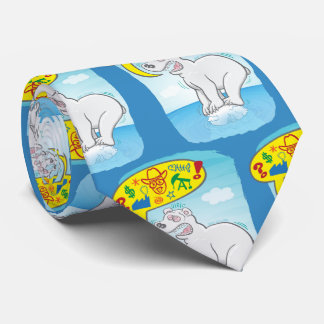Polar bear saying bad words standing on tiny ice neck tie