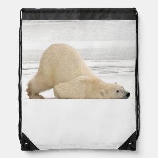 Polar bear scratching itself on frozen tundra backpack