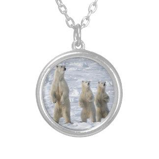 Polar bear silver plated necklace