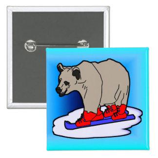 Polar Bear Skiing Buttons