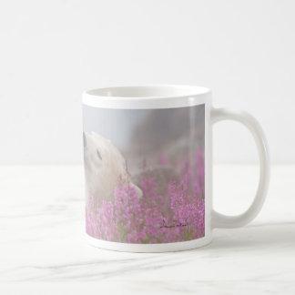 Polar bear sleeping in flowers classic white coffee mug