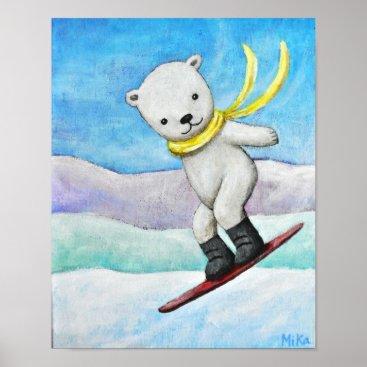 Art Themed Polar Bear Snow Boarding Baby Boy Nursery Poster