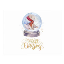 Polar Bear Snow Globe Postcard