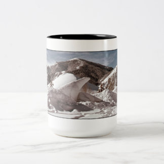 Polar Bear Snow Sculpture Sun Valley Idaho Two-Tone Coffee Mug