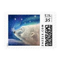 Polar Bear Snowflakes Postage Stamp